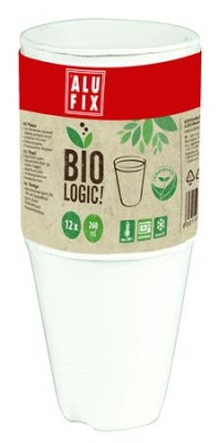 "Pohár, 260 ml, 12 db, ALUFIX, ""BioLogic"""